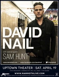 David Nail w/ Sam Hunt  @ The Uptown Theater | Albert | Kansas | United States