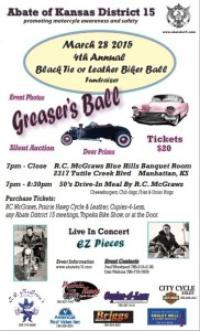 Abate of Kansas District 15's Greaser's Ball: 4th Annual Black Tie or Leather Biker Ball Fundraiser @ R.C. McGraws Blue Hills Banquet Room | Manhattan | Kansas | United States
